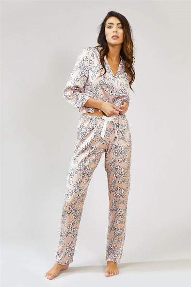 Womens Nightwear Trousers - Floral in Blush Pink