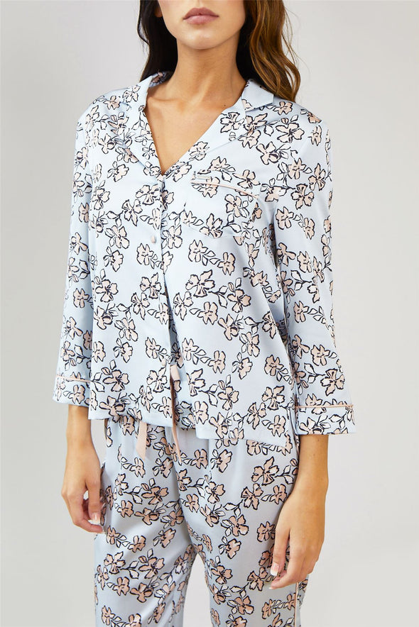 Womens Nightwear Shirt - Floral in Duck Egg Blue