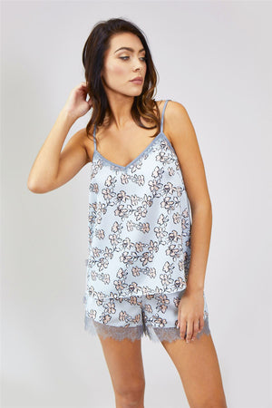 Mix and Match Floral Cami Top in Duck Egg Blue