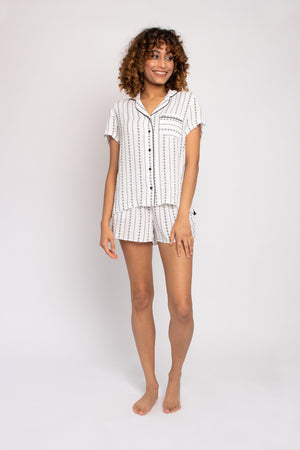 Load image into Gallery viewer, EcoVero Shirt Short Set in Ecru Stripe