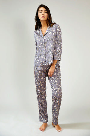 Mix and Match Floral Trousers in Dove Grey