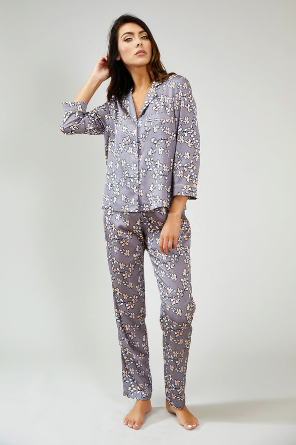 Womens Nightwear Shirt - Floral in Dove Grey