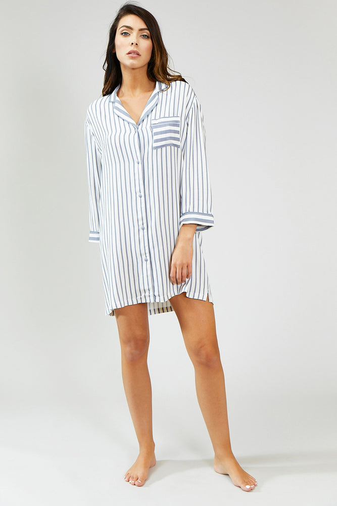 Boyfriend Stripe Nightshirt in Grey/Ecru