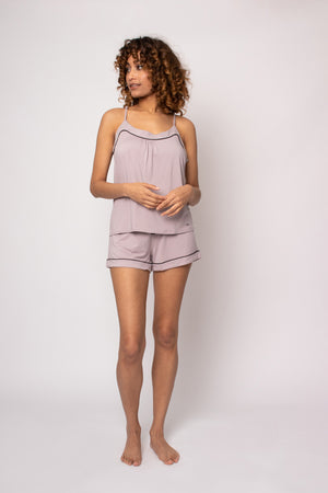 Bamboo Cami and Short Pyjama Set in Oyster