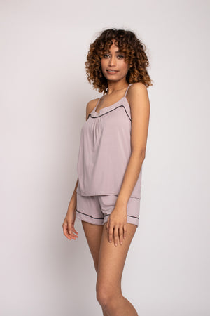 Load image into Gallery viewer, Bamboo Cami and Short Pyjama Set in Oyster