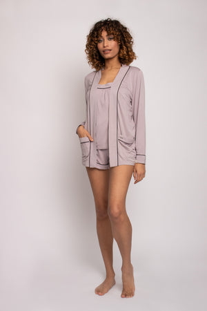 Bamboo Nightwear Jacket in Oyster