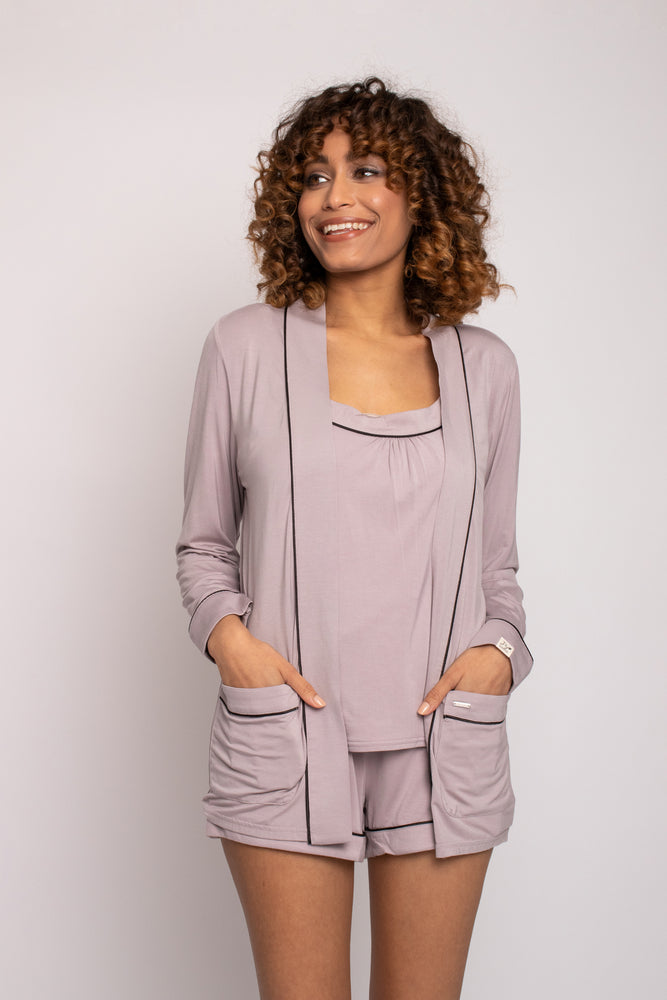 Load image into Gallery viewer, Bamboo Nightwear Jacket in Oyster