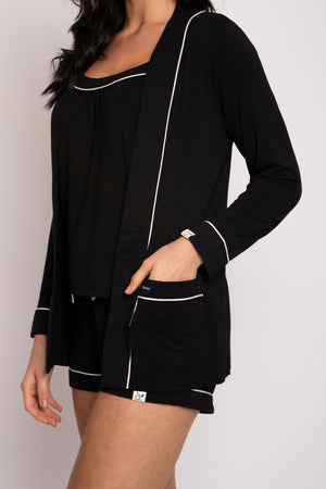 Load image into Gallery viewer, Bamboo Nightwear Jacket in Black