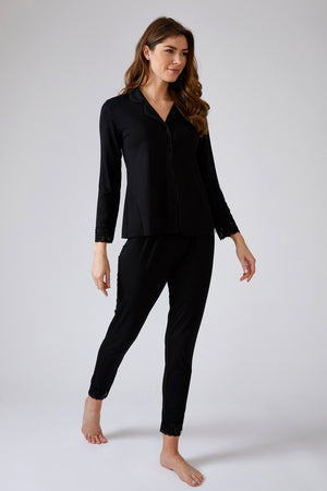 Lace Modal Pyjama Set in Black