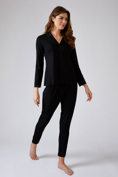 Womens Lace Modal Pyjama Set in Black
