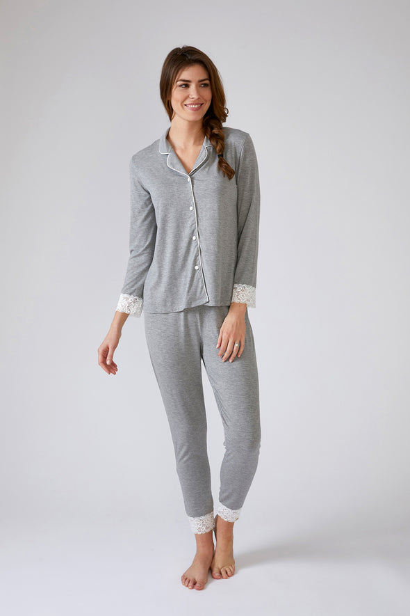 Womens Lace Modal Pyjama Set in Grey