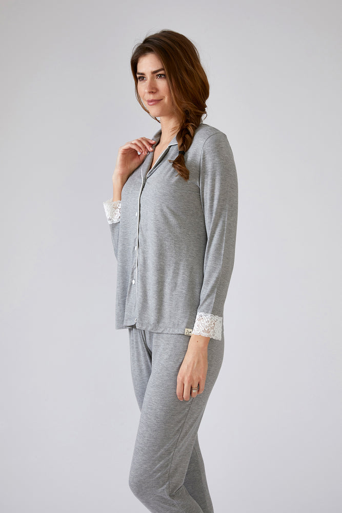 Lace Modal Pyjama Set in Grey