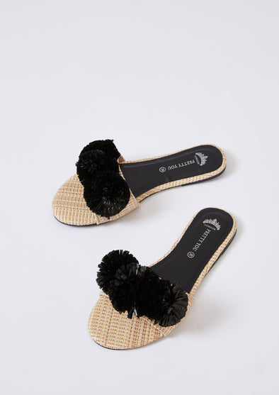 Womens Slider Sandals - Raffia Pom Black