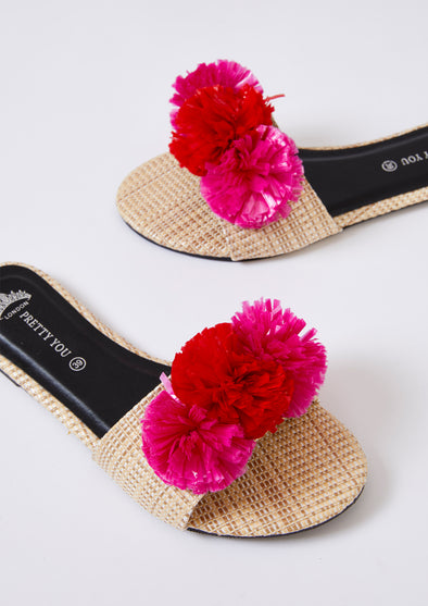 Womens Slider Sandals - Raffia Pom Pink