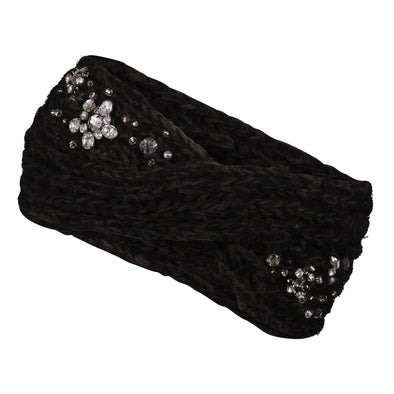 Black Embellished Twist Knit Headband