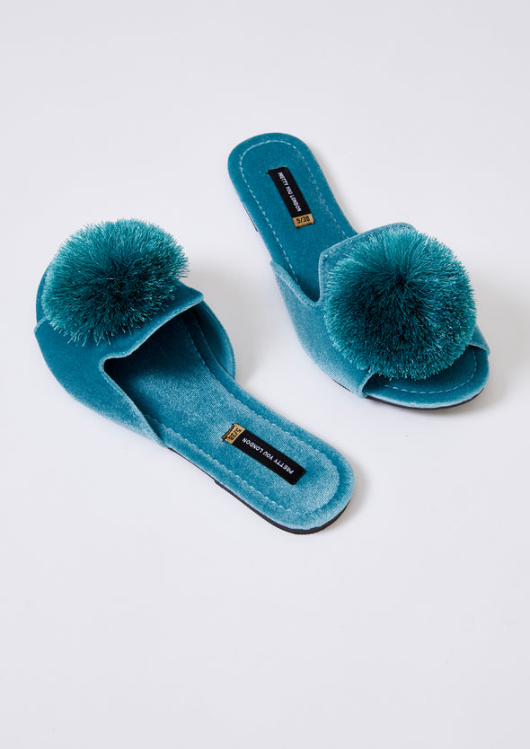 Womens Slider Sandals - Velvet Pom Emerald