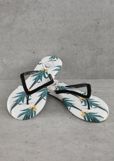 Womens Coconut Printed Flip Flops
