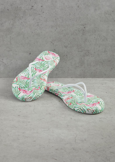 Womens Flamingo Printed Flip Flops