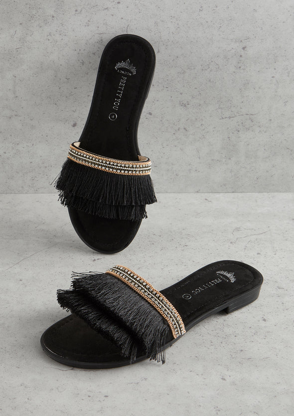Womens Black Fringe Sandal