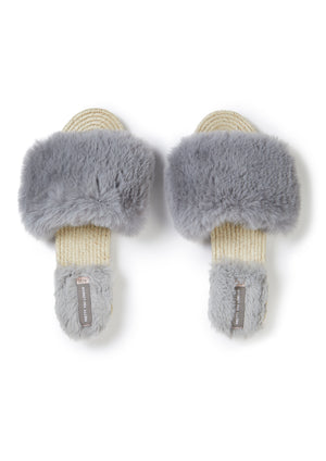 Load image into Gallery viewer, Faux Fur Sandal in Grey