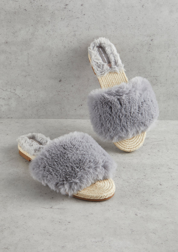Womens Grey Faux Fur Sandal
