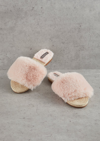 Womens Pink Faux Fur Sandal