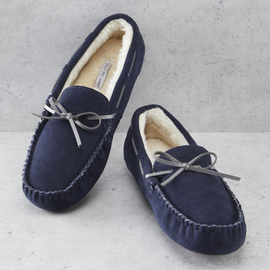 Men's Navy Premium Suede Faux Fur Lined Moccasin Slipper