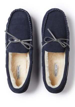 Load image into Gallery viewer, Men's Navy Premium Suede Faux Fur Lined Moccasin Slipper
