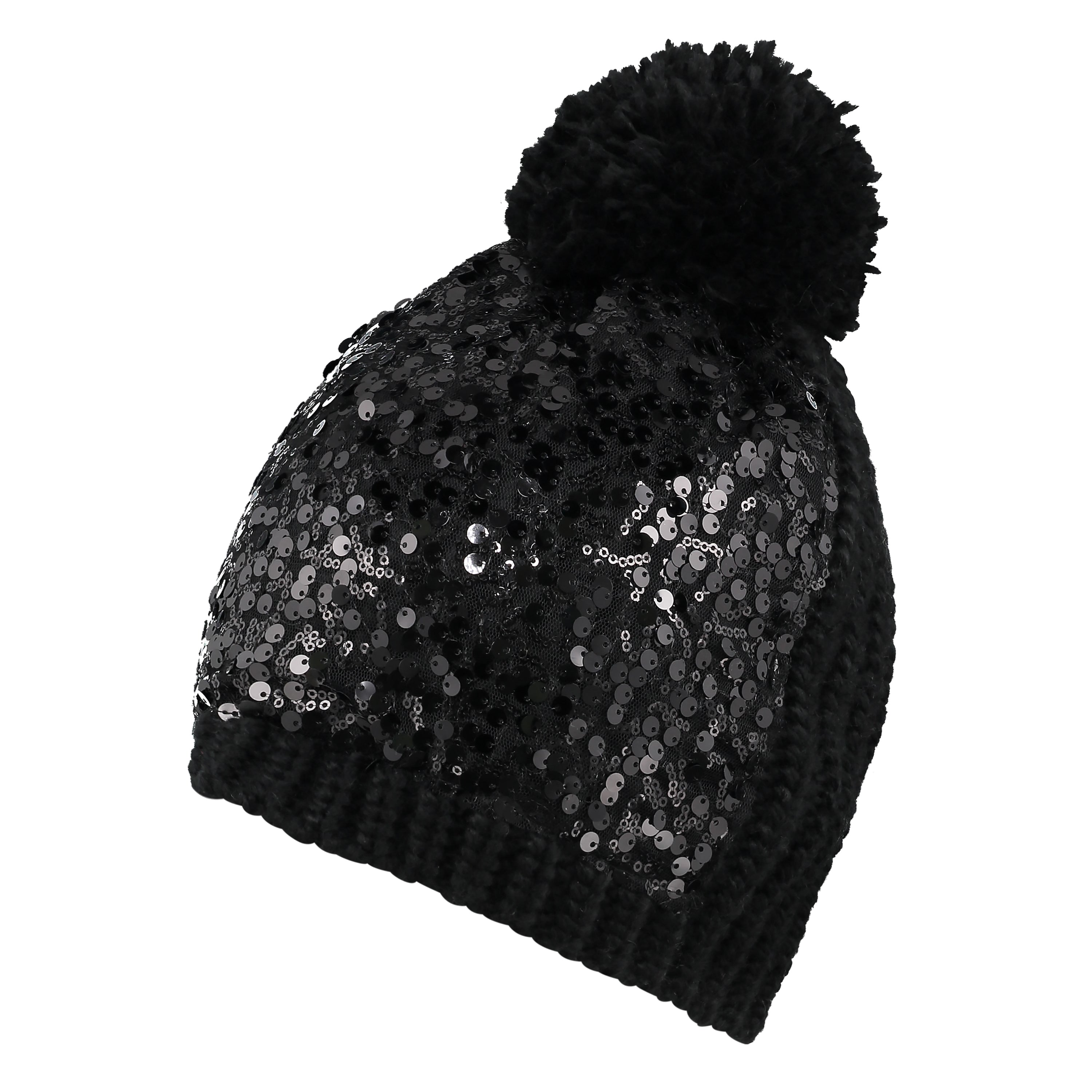 Womens Black Sequin Beanie and Hat Set from Pretty You London 38791413a4a