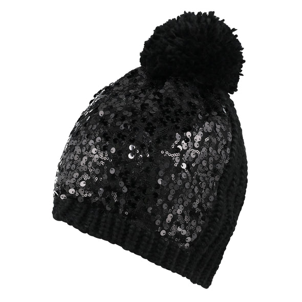 Black Sequin Knit Beanie & Scarf Set