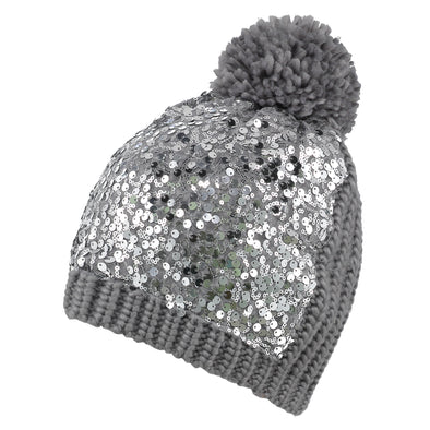 Silver Sequin Knit Beanie & Scarf Set