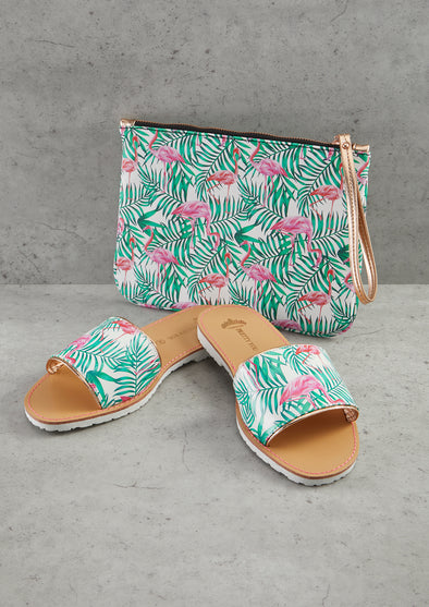 Flamingo Printed Slide & Clutch Set