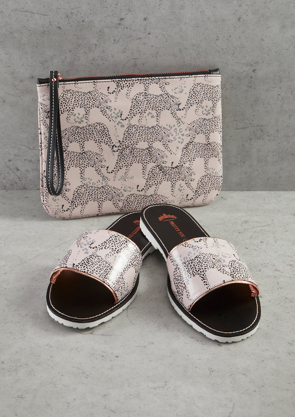 Womens Leopard Printed Slide and Clutch Set