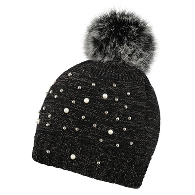 Black Embellished Beanie & Handwarmer Set