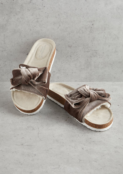 Womens Mink Velour Bow Footbed Sandal