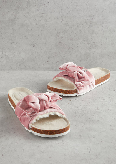 Womens Pink Velour Bow Footbed Sandal