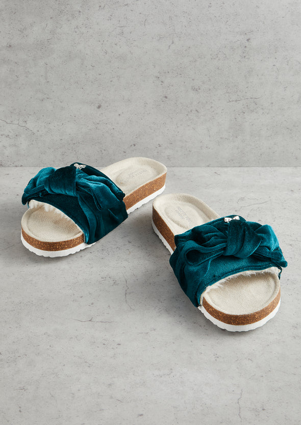 Womens Emerald Velour Bow Footbed Sandal
