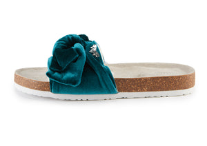 Velour Bow Footbed Sandal in Emerald
