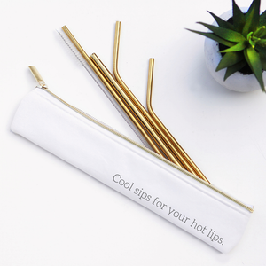 Cool Sips Stainless Steel Metal Straw Set