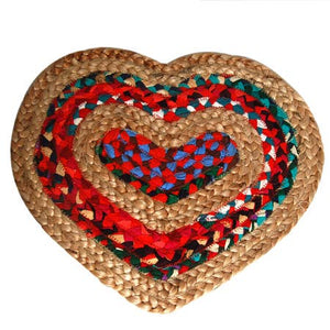 Colored Jute Heart Placemat