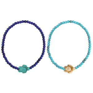 Save the Turtles Stone Bead Stretch Anklet