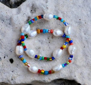 Rainbow Pearl Nugget Stretch Bracelet