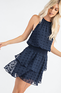 Navy Dot Smocked Waist Mini Dress