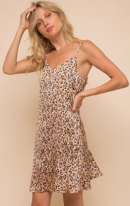 Camel Leopard Print Dress