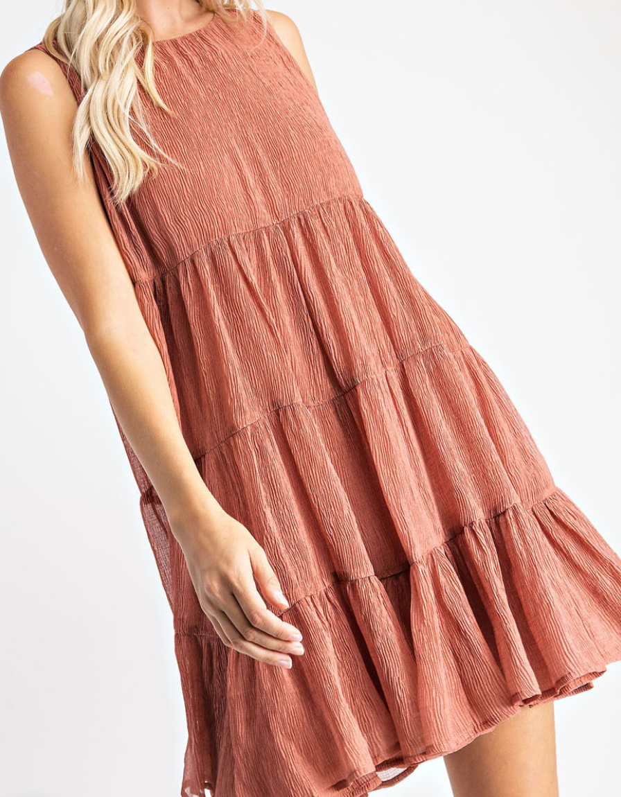 Textured Babydoll Dress