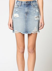 Peyton Distressed Denim Skirt