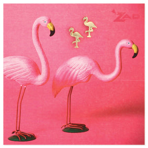 Stand Tall Gold Flamingos Post Earrings