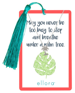 Palm Tree Necklace - Silver on Tropical Card