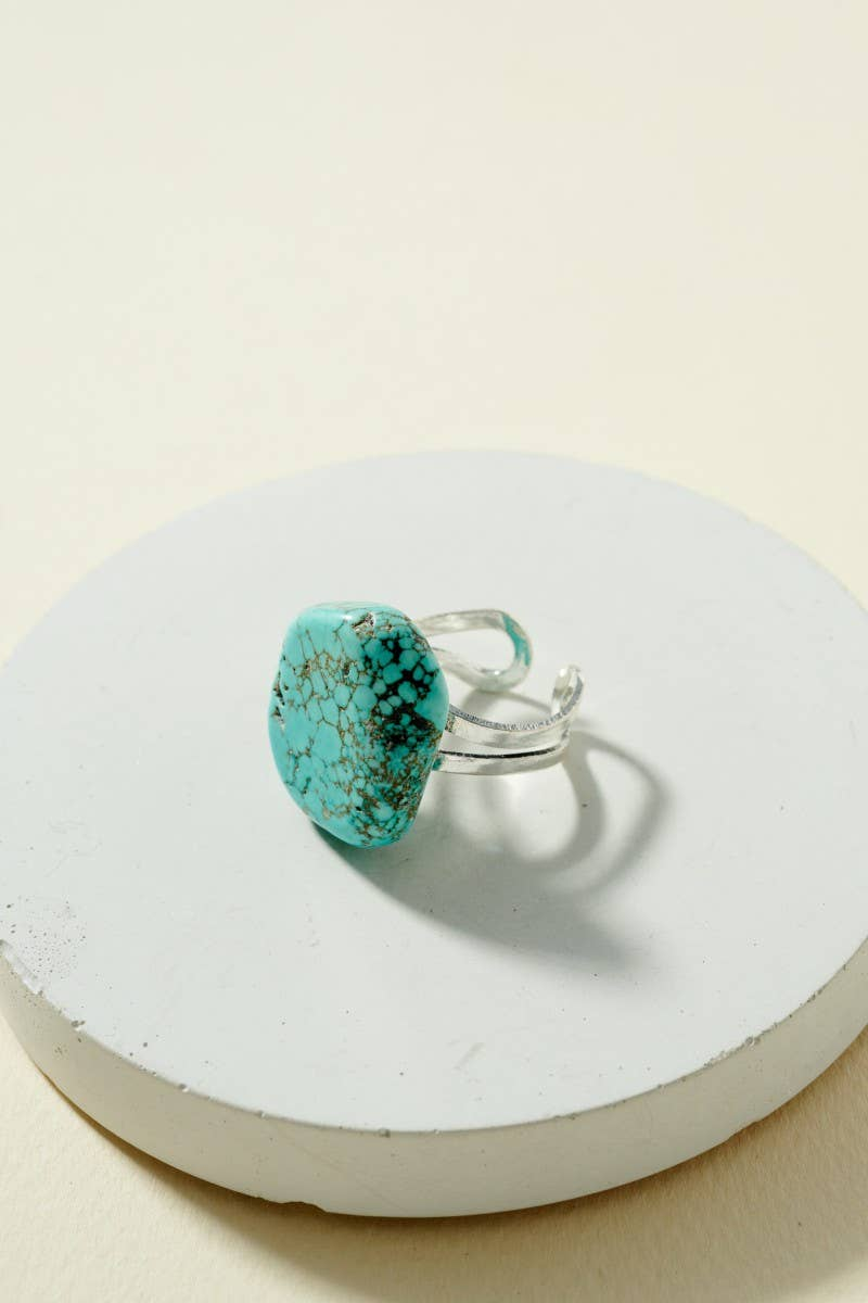 Turquoise Rock Stone Cuff Ring