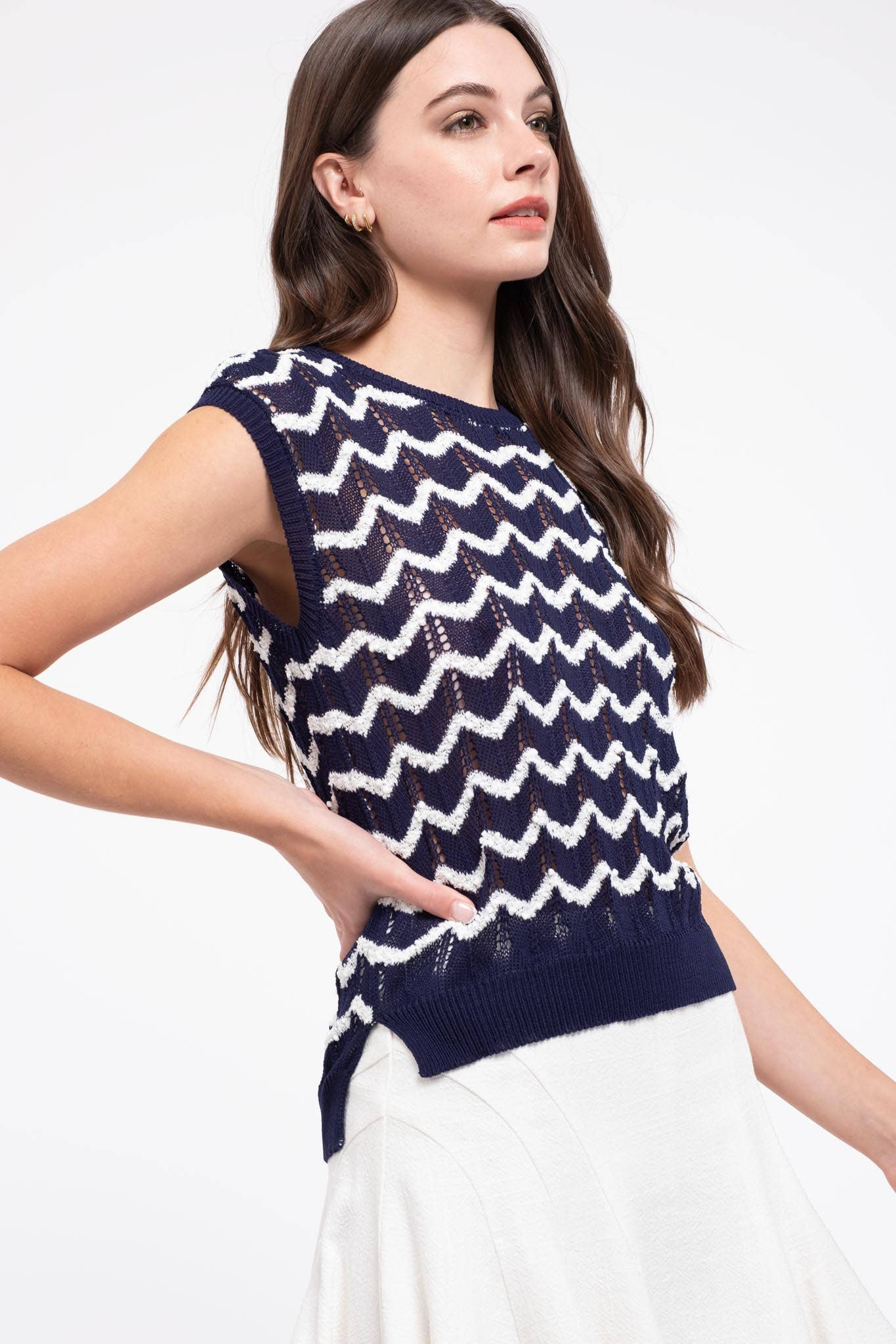 Navy and White Zig Zag Top